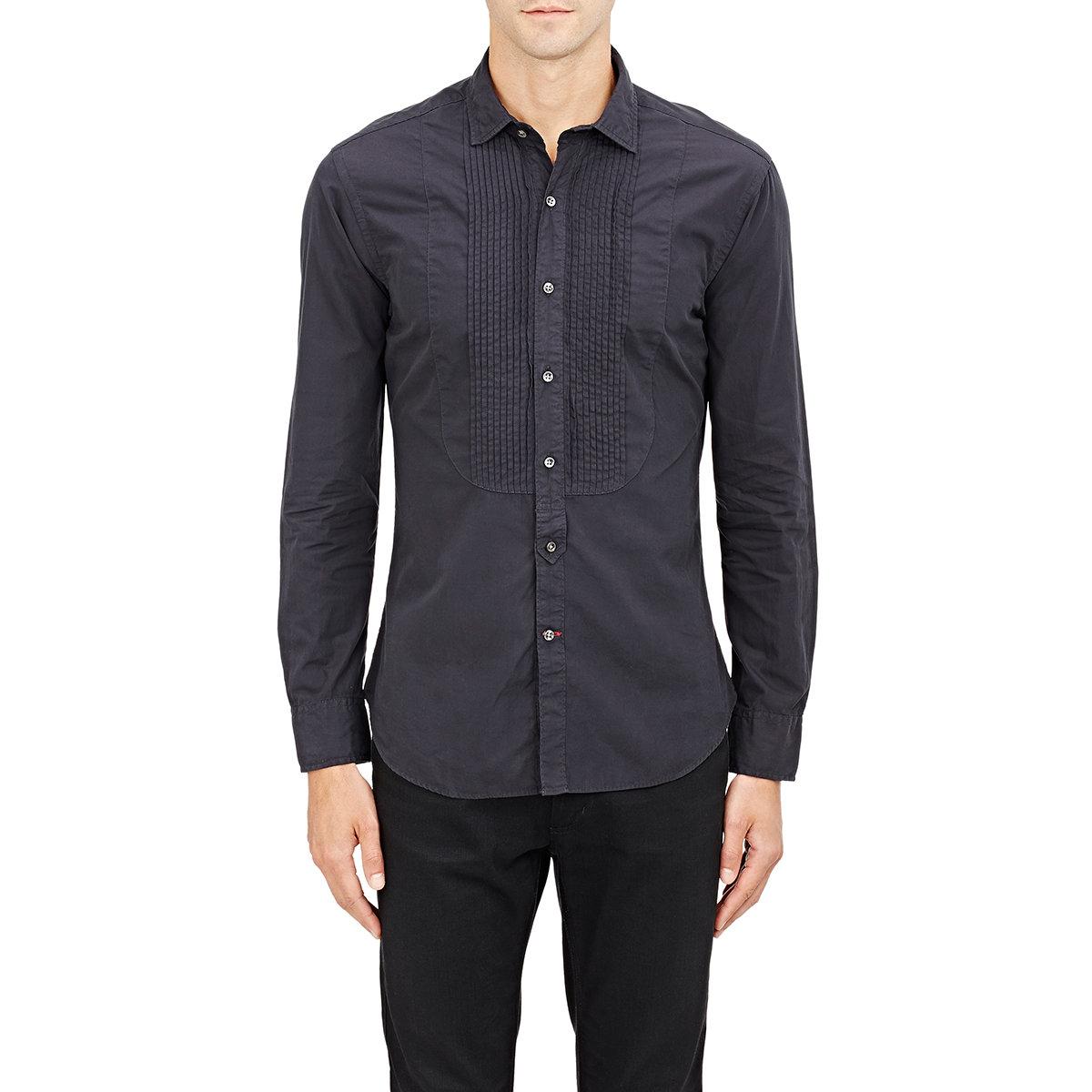 ralph black label s bibbed poplin shirt in blue