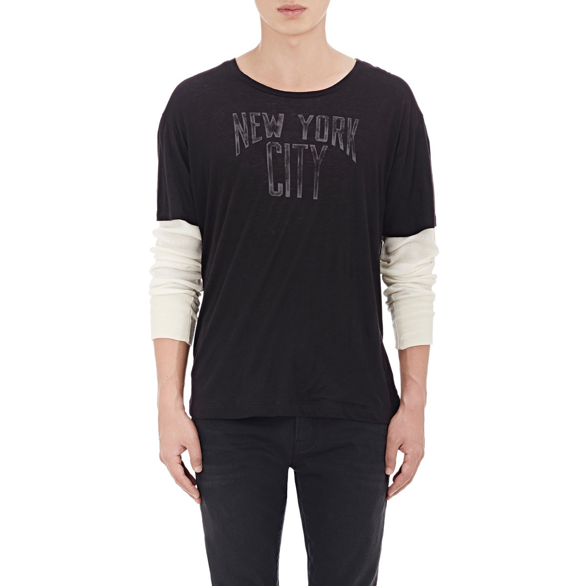 R13 new york city layered t shirt in black for men lyst for New york and company dress shirts