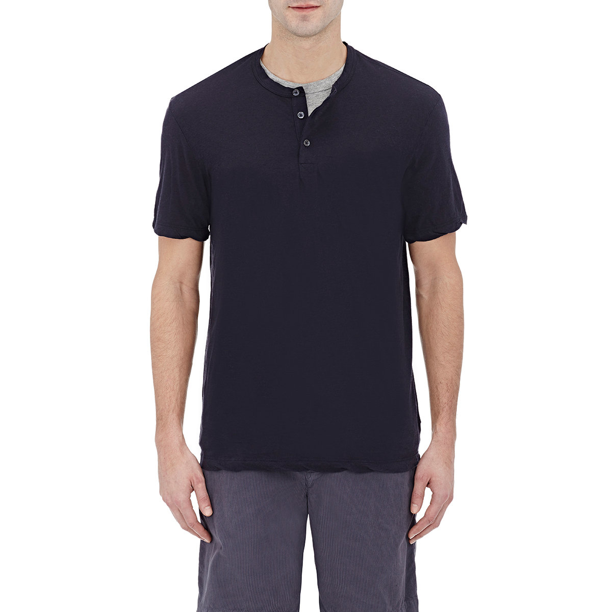 James perse short sleeve henley in black lyst for James perse henley shirt