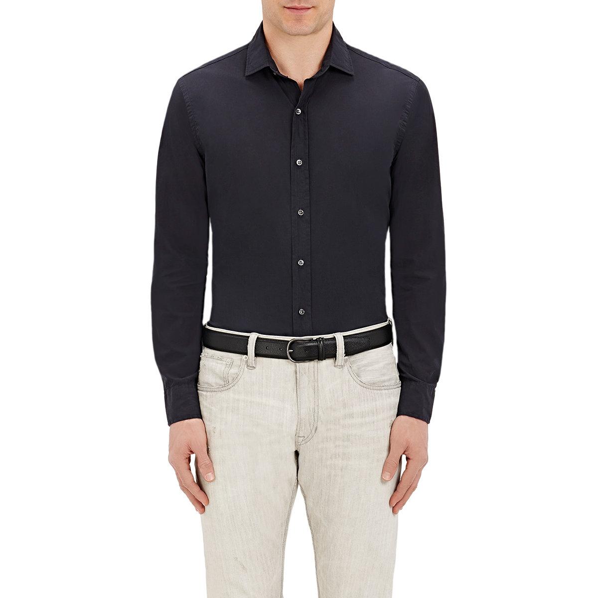 ralph black label poplin button front shirt in blue
