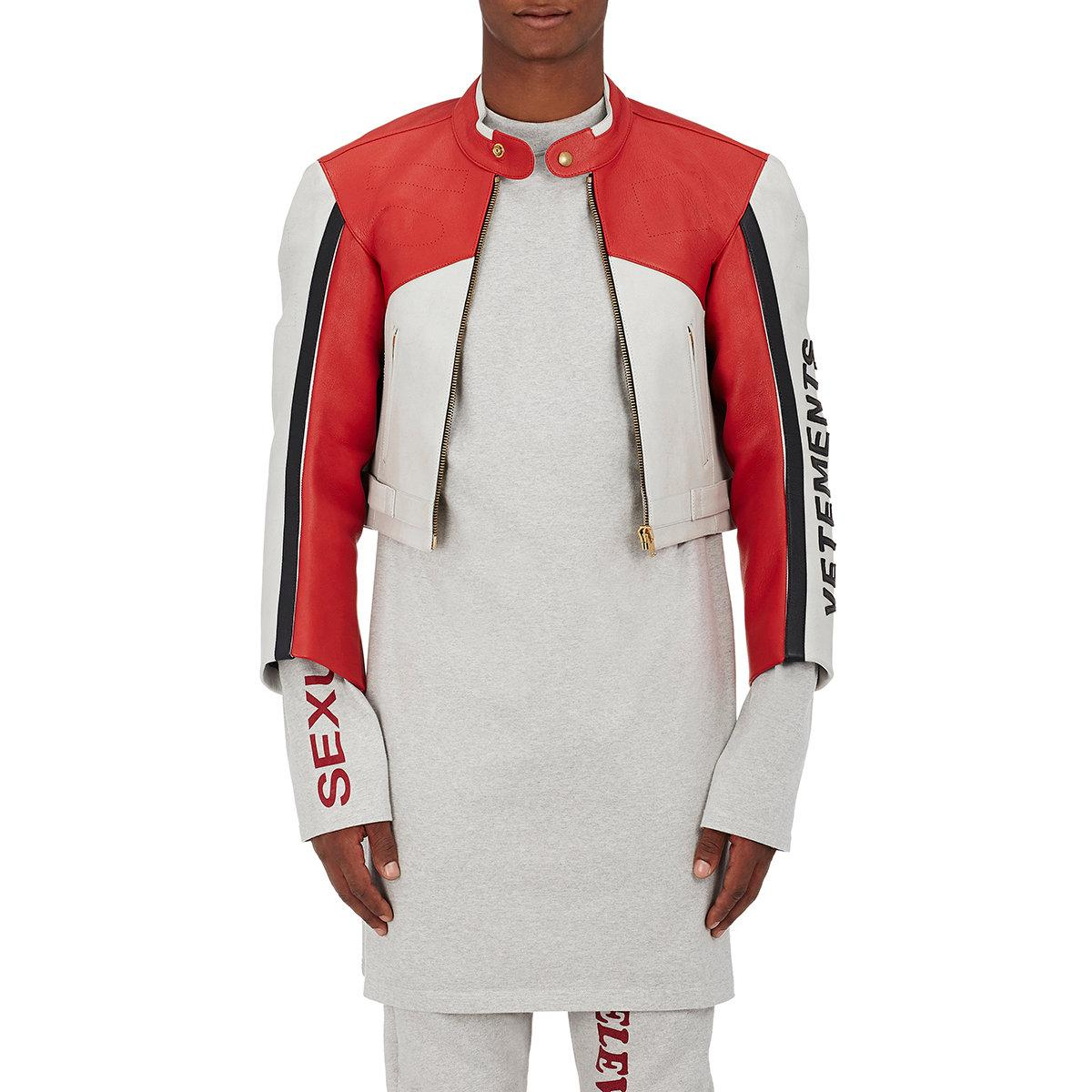 vetements perforated calfskin moto jacket in red for men lyst. Black Bedroom Furniture Sets. Home Design Ideas