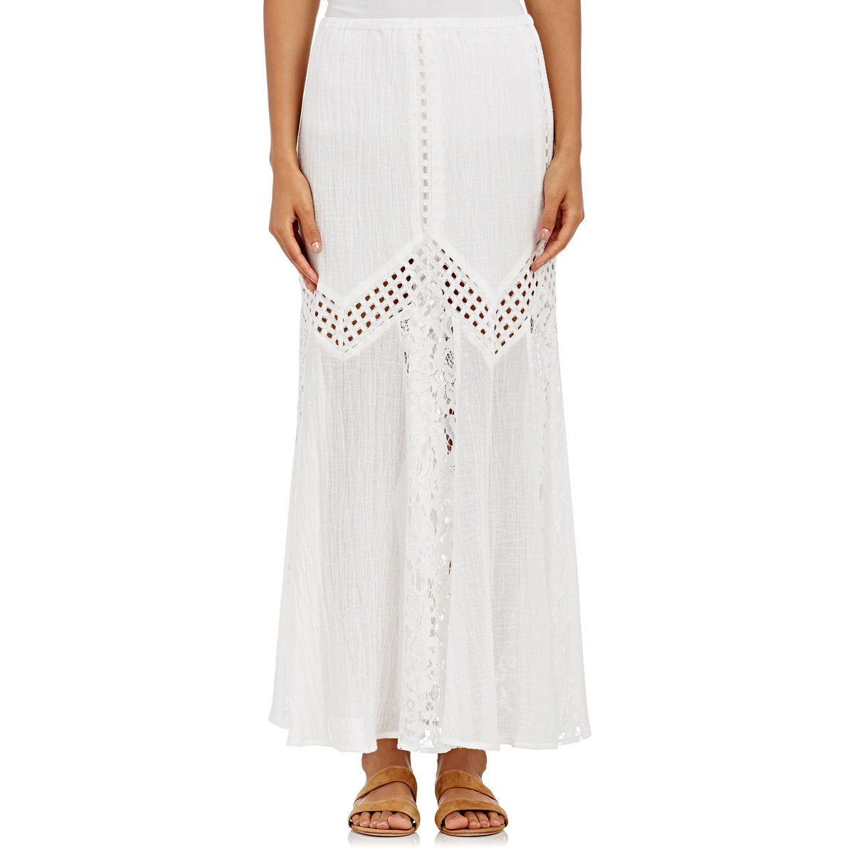 skin cotton lace gauze maxi skirt in white lyst