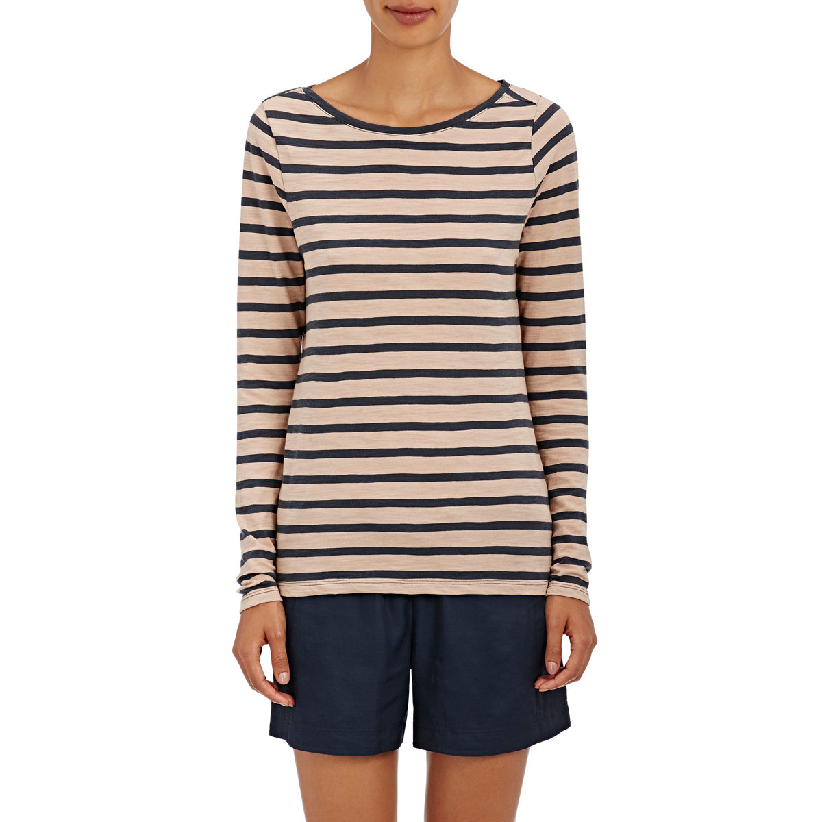 Lyst skin striped cotton jersey long sleeve t shirt in blue for Blue and white striped long sleeve t shirt