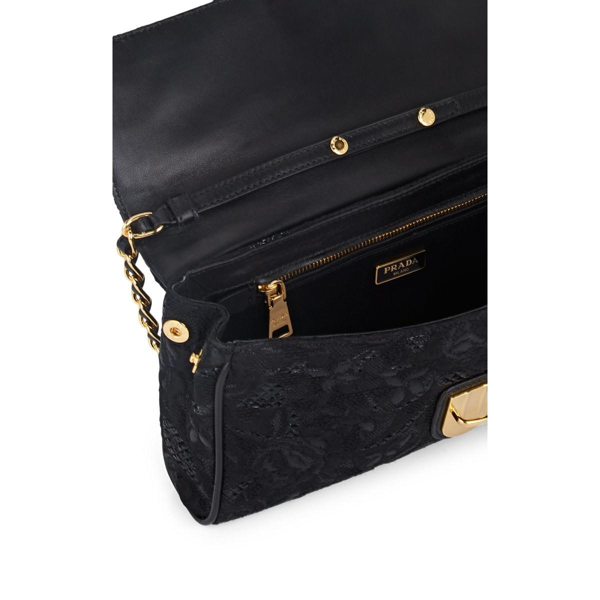 e3e2332041522a Prada - Black Floral Brocade Shoulder Bag - Lyst. View fullscreen