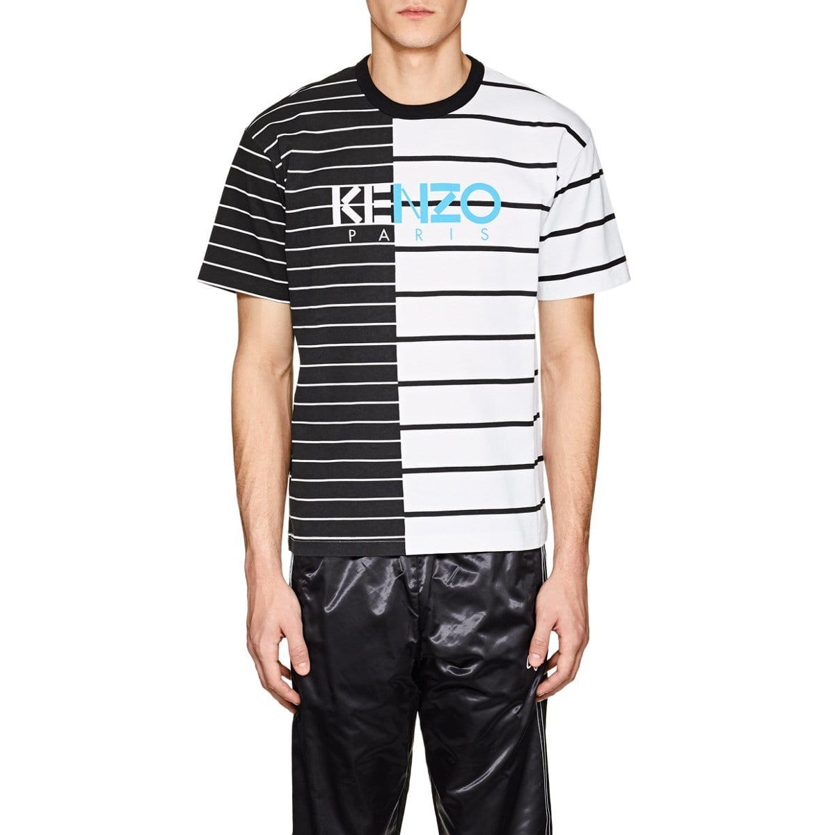 77801ae37a9 KENZO Multicolor Logo-print Split-striped Cotton T for men