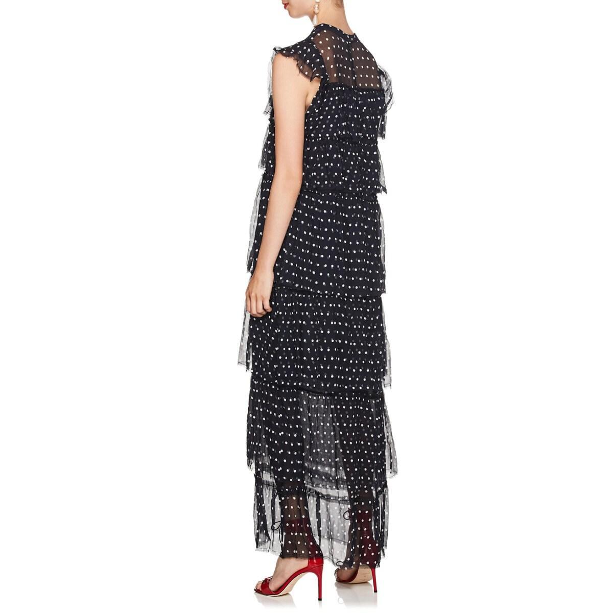 Sir. The Label Marceau Polka Dot Silk Maxi Dress In Dk