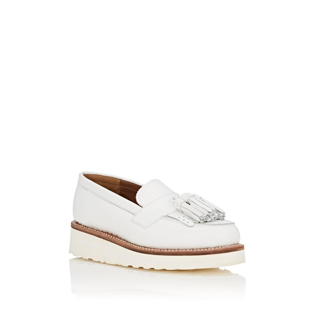 5350708813e GRENSON - White Clara Leather Wedge Loafers - Lyst. View fullscreen