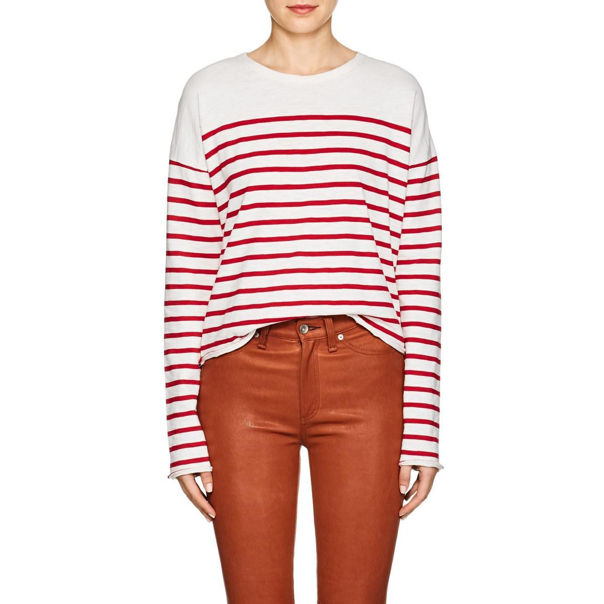 97a1cde5bb Lyst - Rag & Bone Halsey Striped Cotton T-shirt in White
