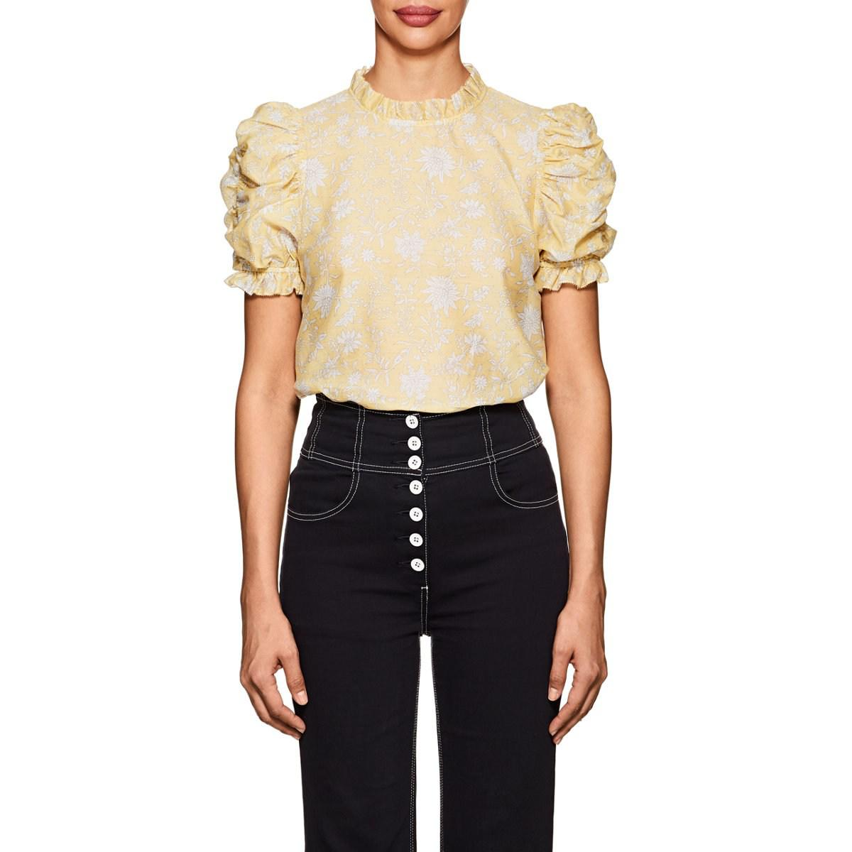 4f4d63f688e259 Ulla Johnson Wesley Floral Cotton-silk Blouse in Yellow - Lyst
