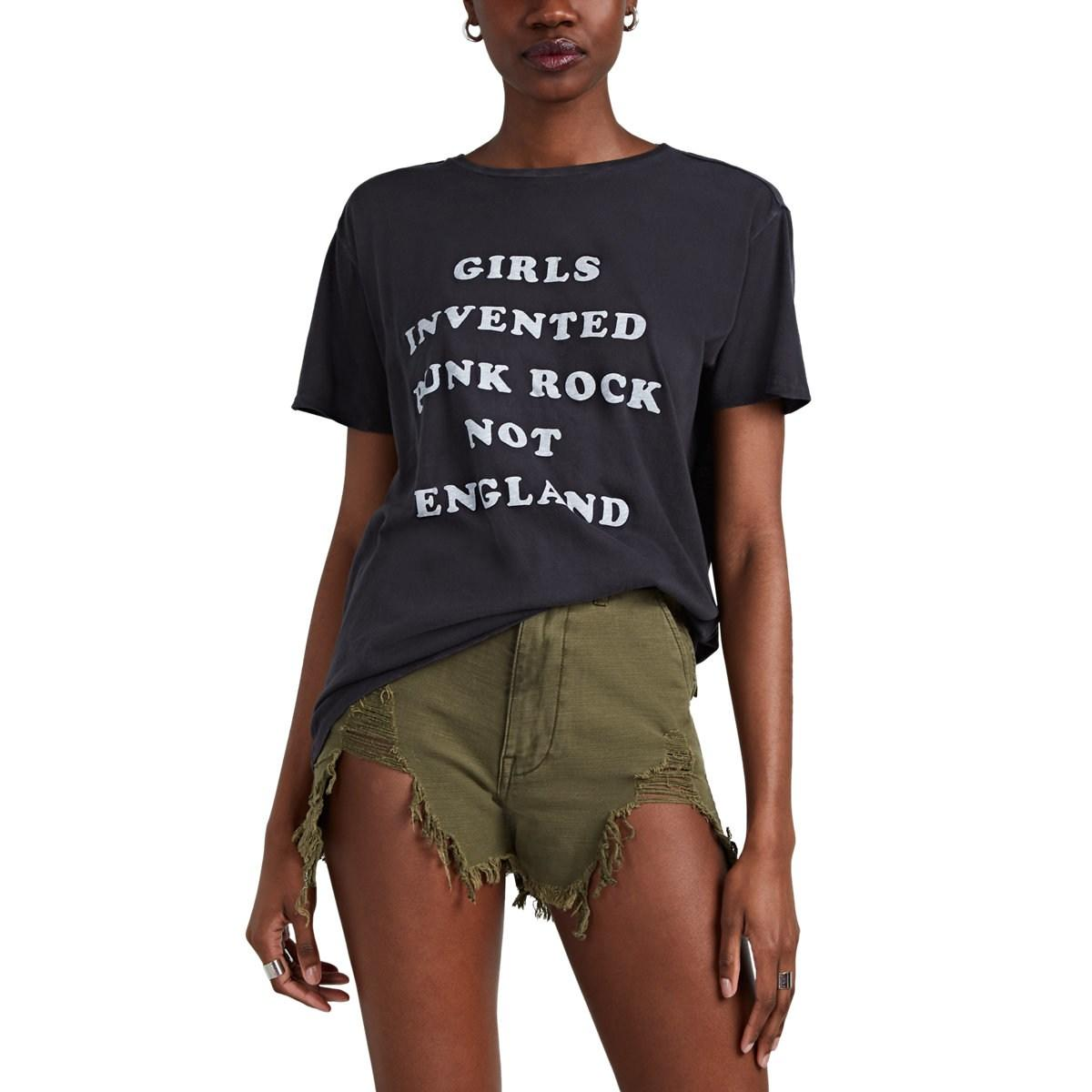 r13 girls invented punk rock cotton cashmere t shirt in black lyst. Black Bedroom Furniture Sets. Home Design Ideas