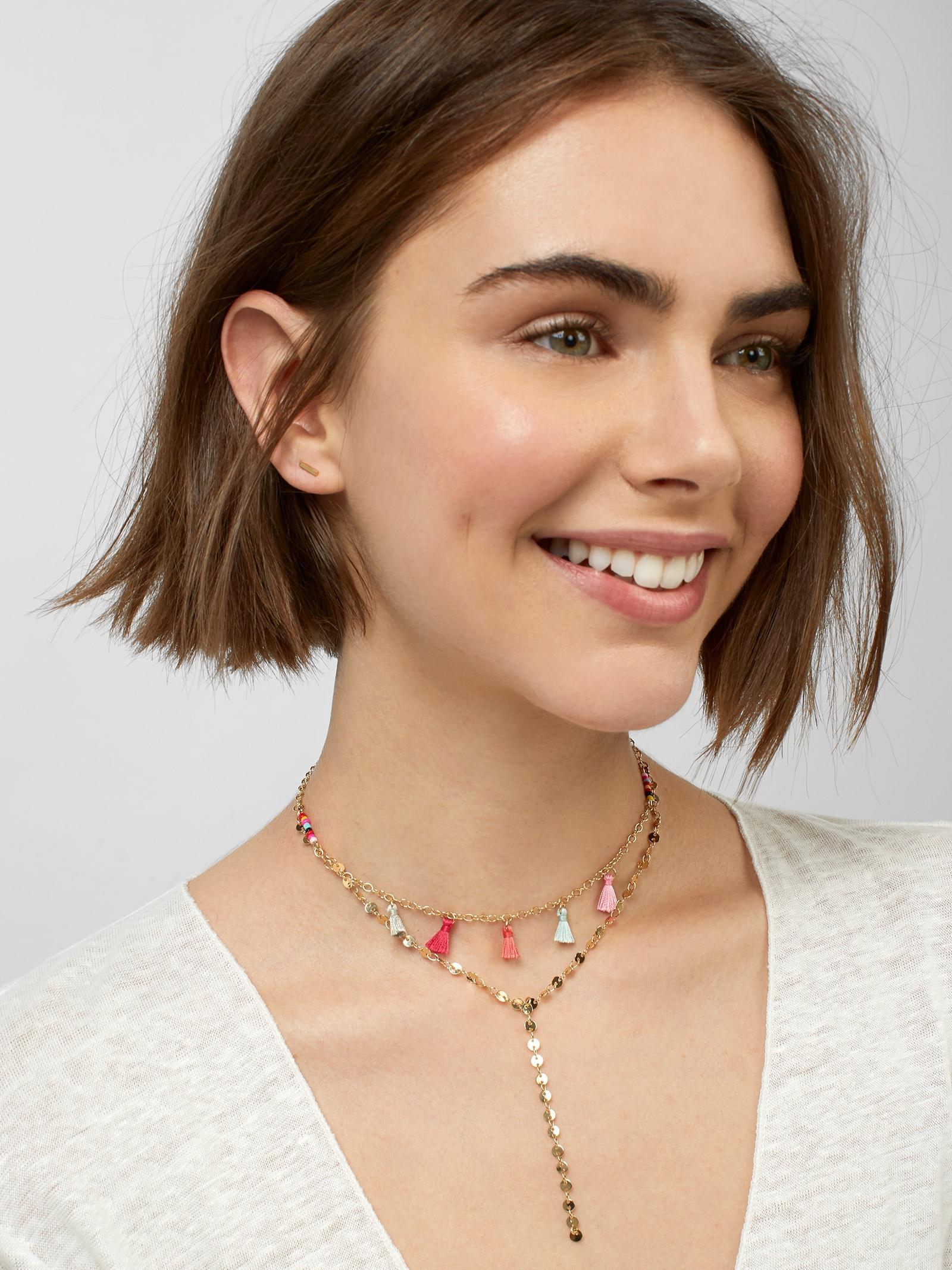 BaubleBar Silk Topaz Layered Y-chain Necklace