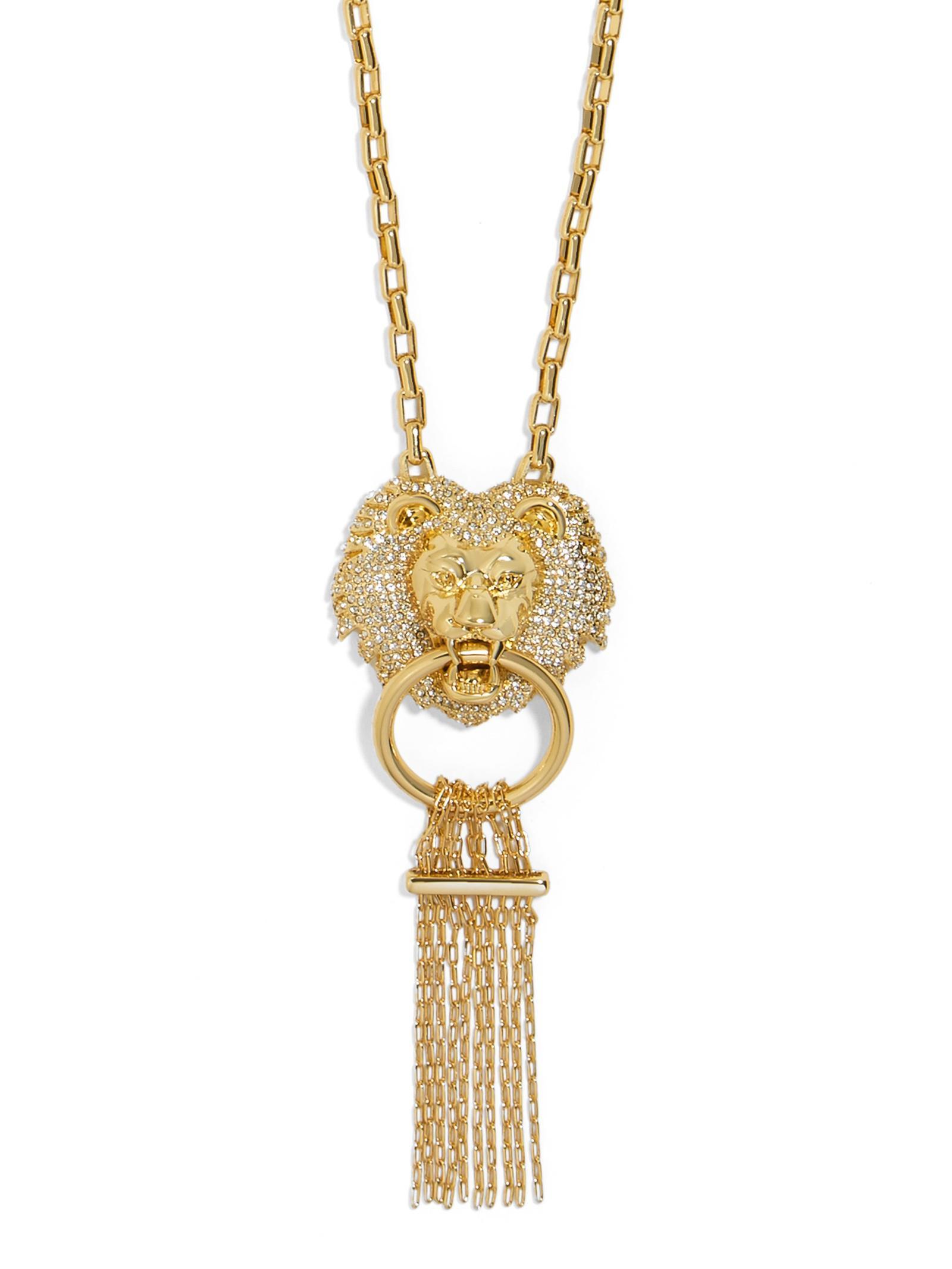BaubleBar Panthera Lion Head Necklace in Metallic