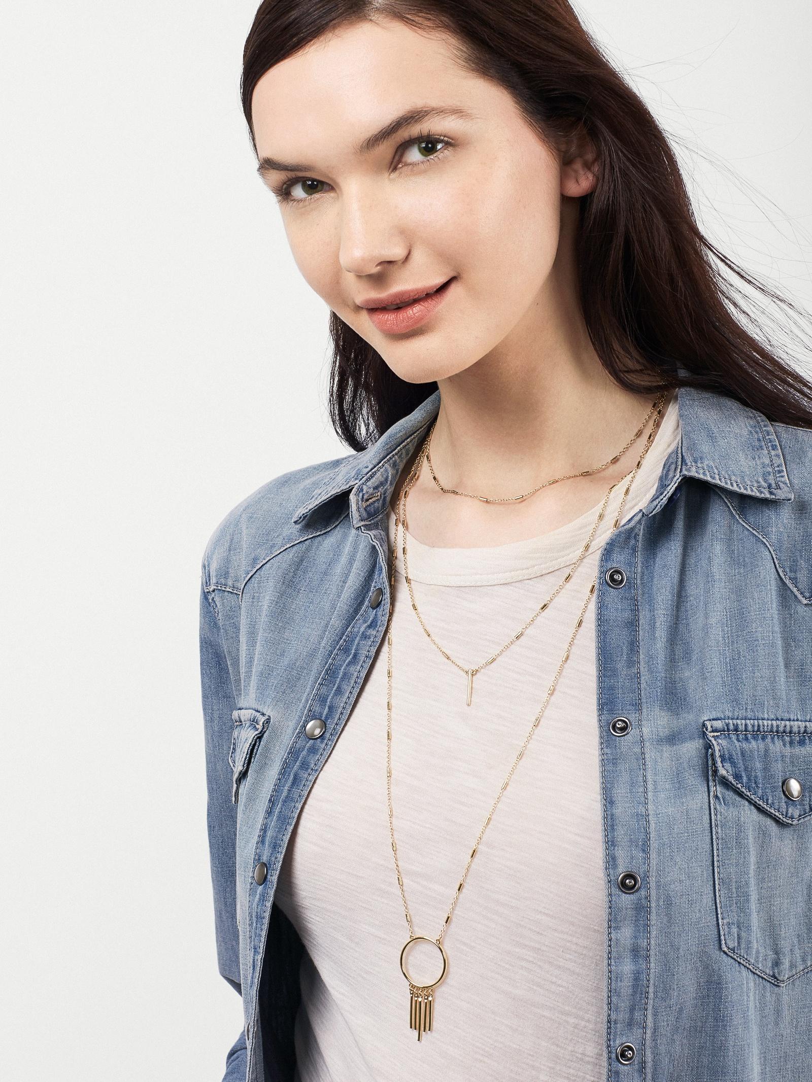 BaubleBar Gypset Layered Necklace in Rose Gold (Metallic)