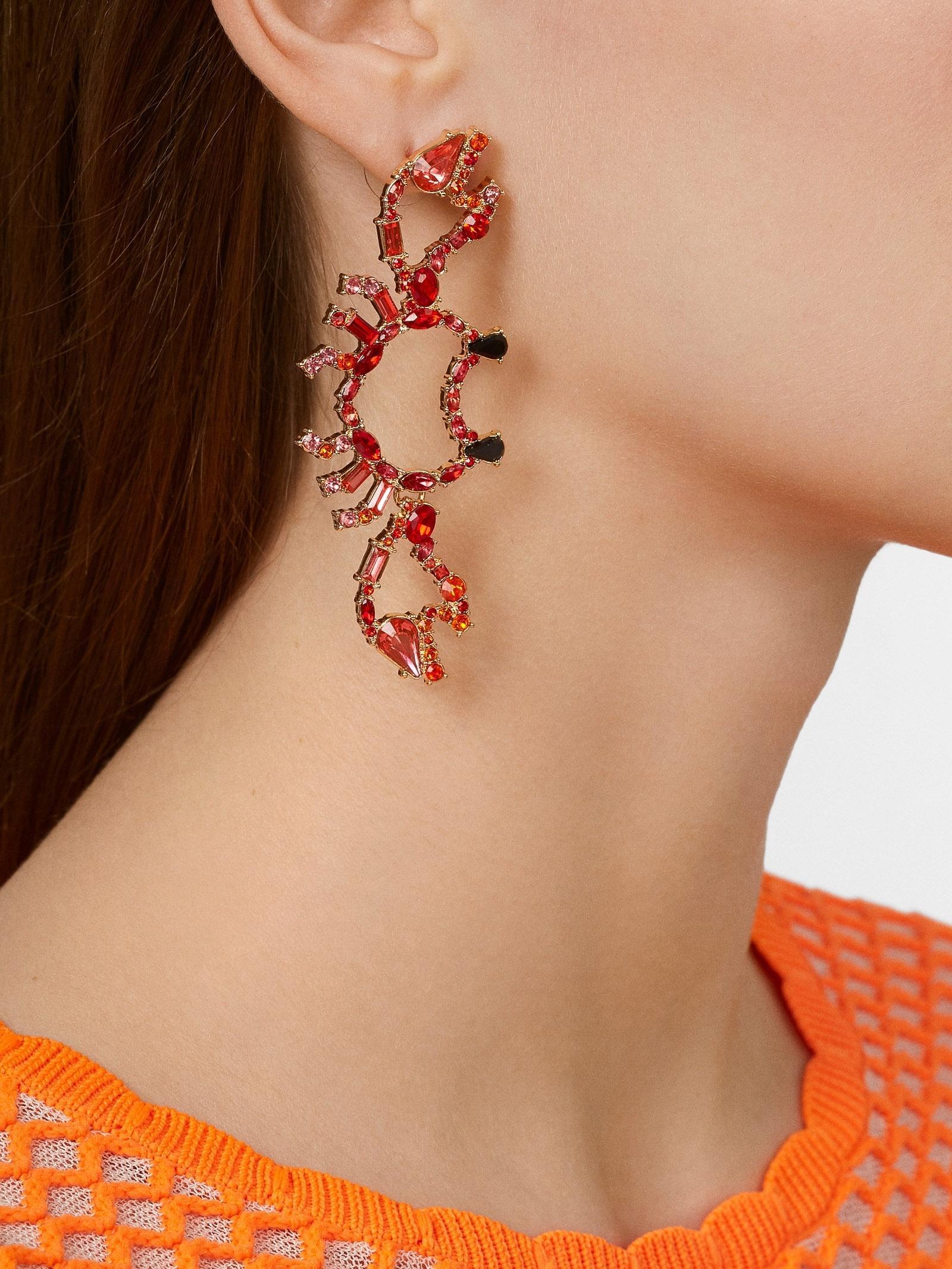 Women's Red Hermit Drop Earrings