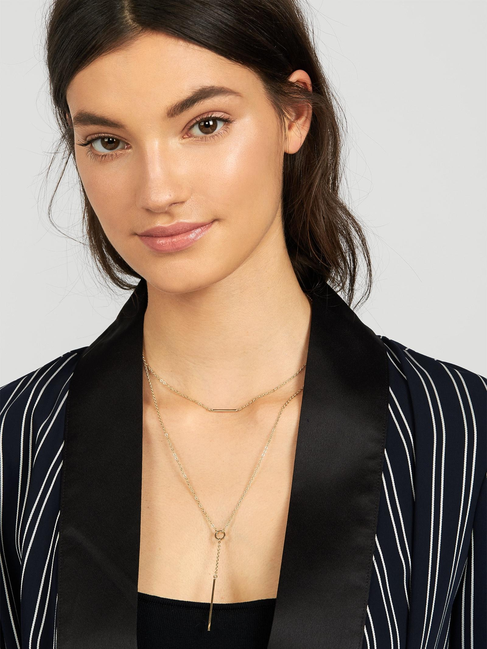 BaubleBar Lunaria Layered Necklace in Silver (Metallic)