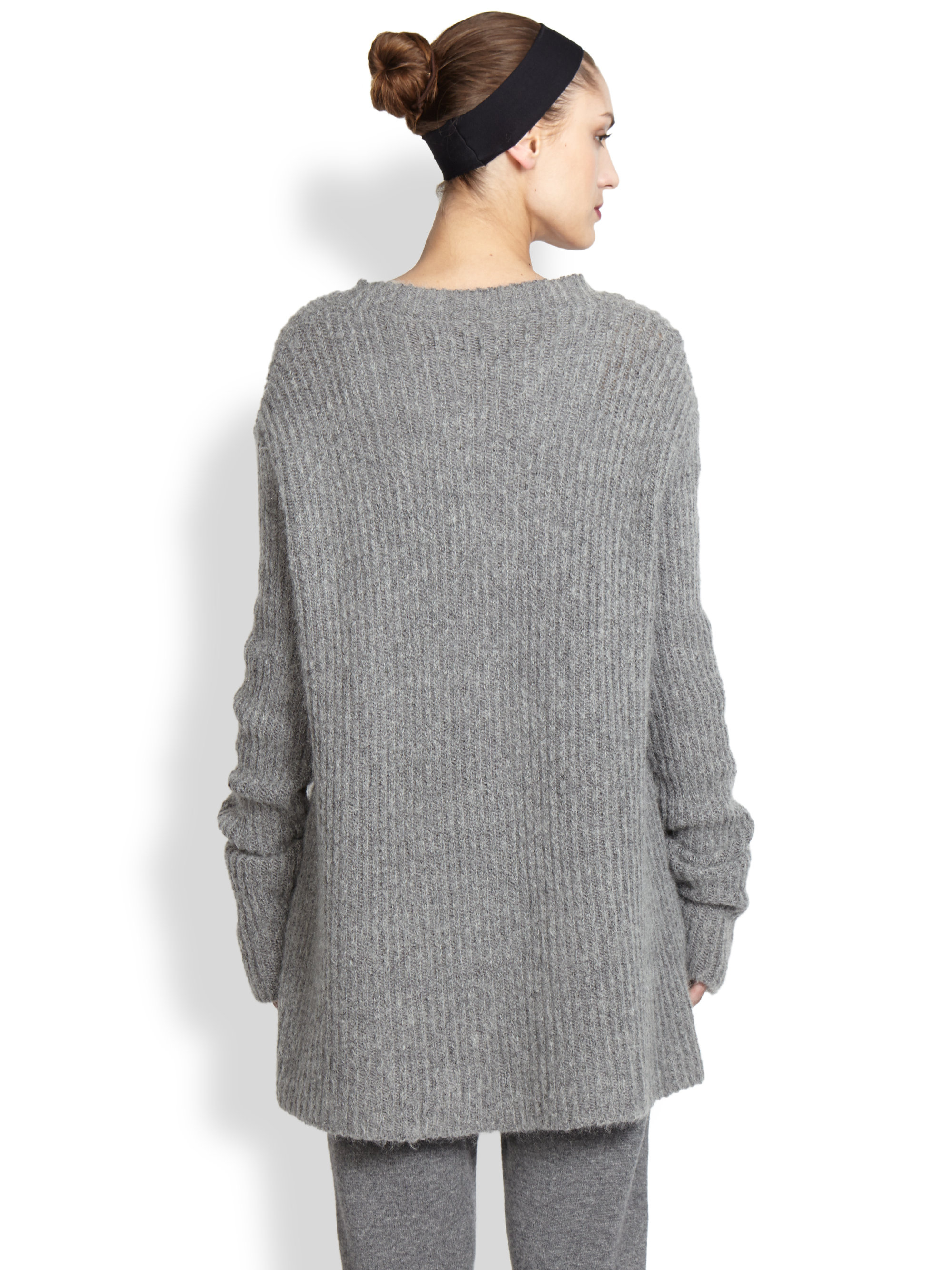 haider ackermann ribbed sweater in gray lyst. Black Bedroom Furniture Sets. Home Design Ideas
