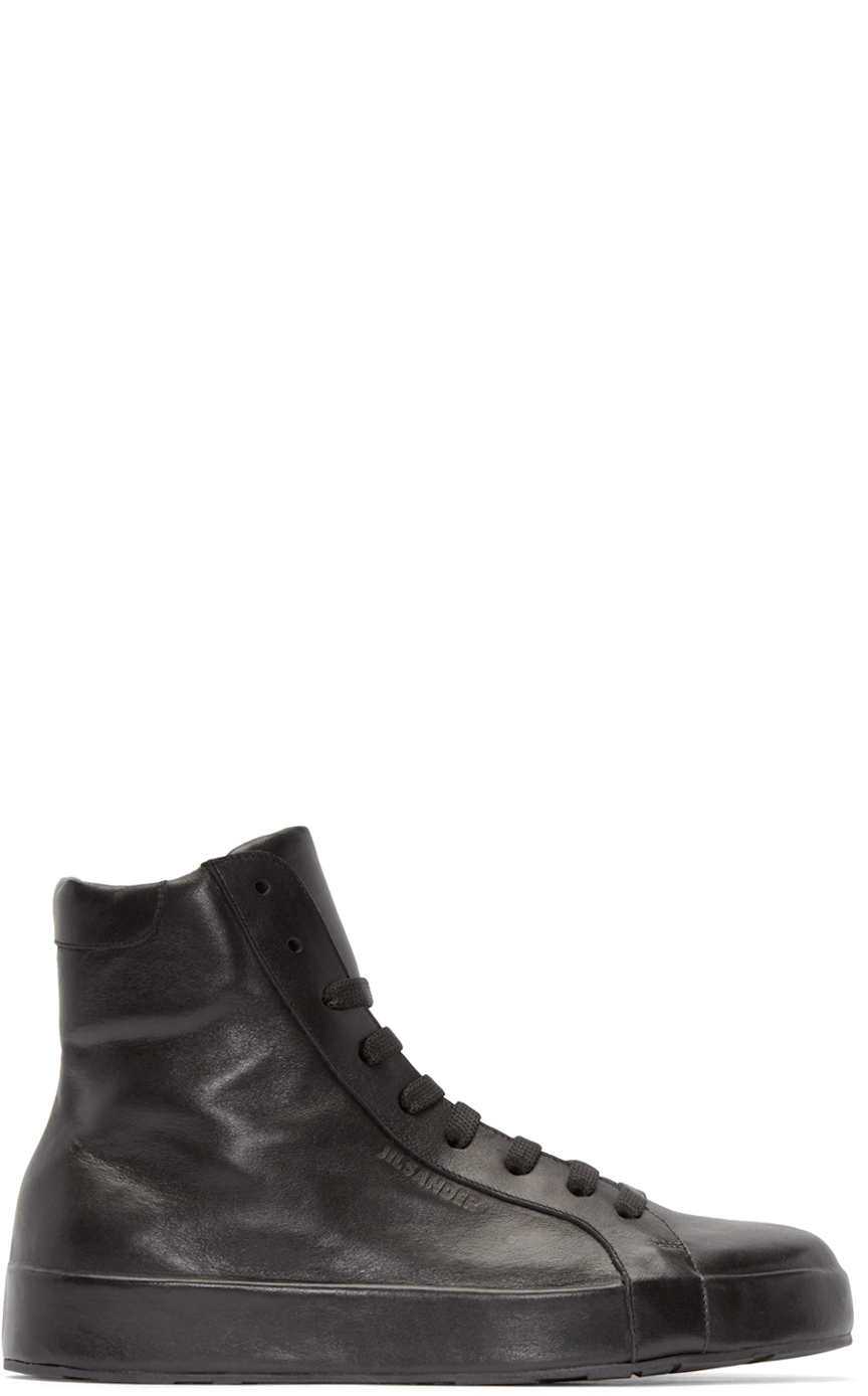 Jil Sander Leather High Trainers BtikyA4Zb