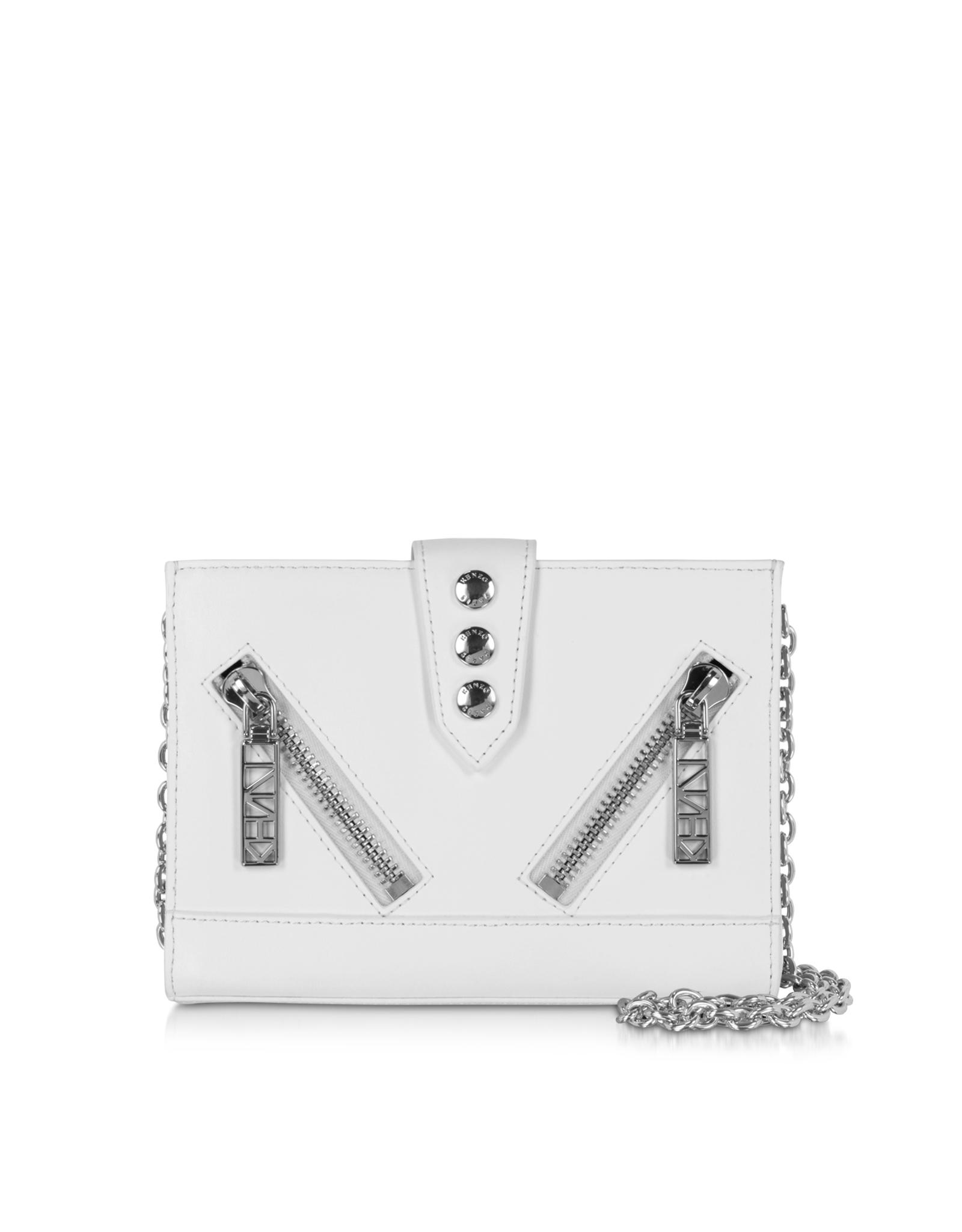 264263b29f2 KENZO Kalifornia Leather Wallet W/chain Strap in White - Lyst