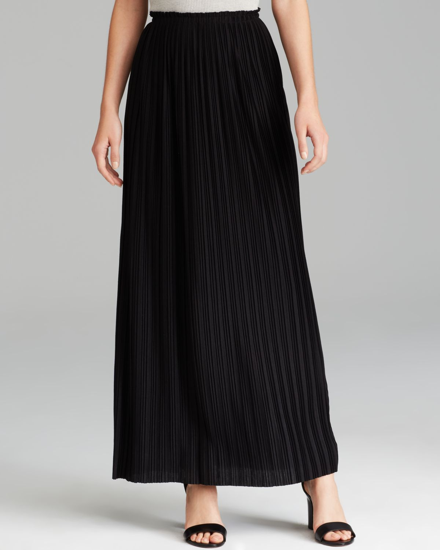 calvin klein pleated maxi skirt in black lyst