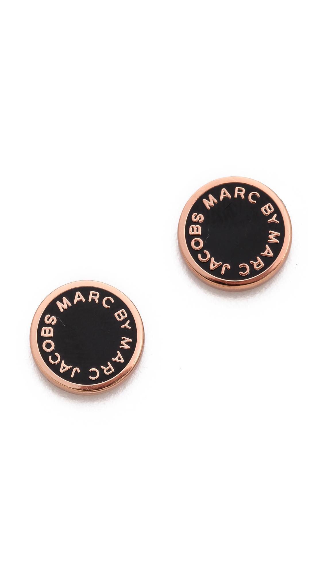 Marc By Marc Jacobs Enamel Logo Disc Stud Earrings In
