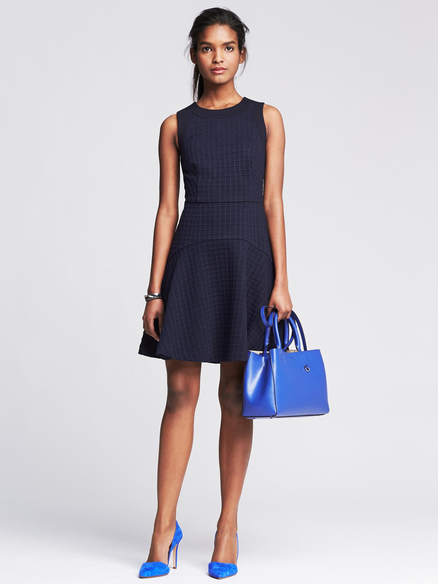 Banana Republic Square Jacquard Fit And Flare Dress In