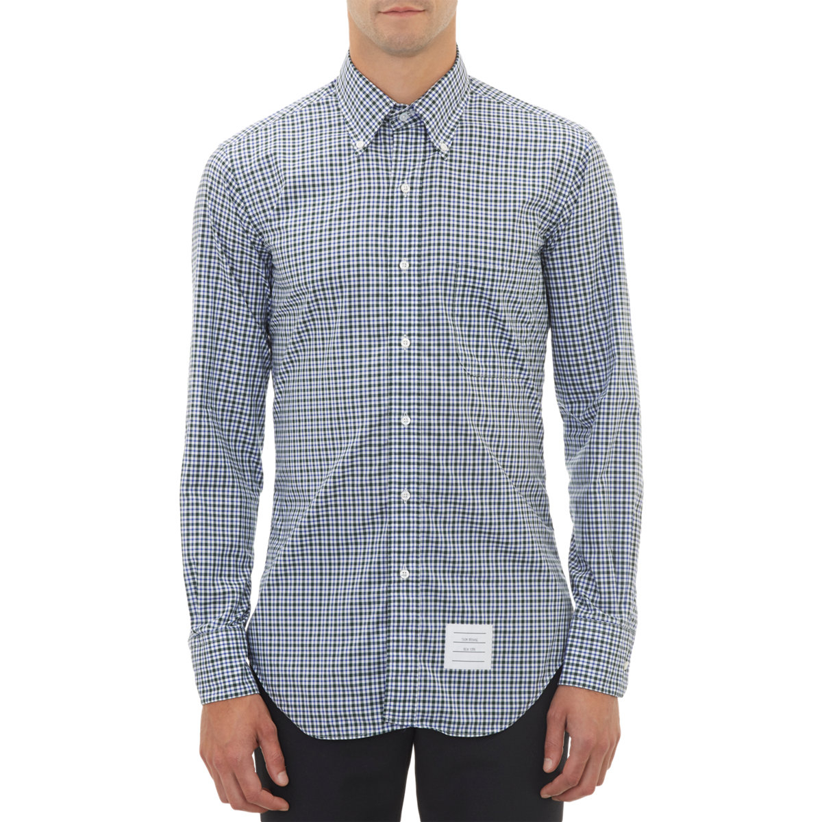 Thom browne checkpattern broadcloth shirt in white for men for Thom browne white shirt