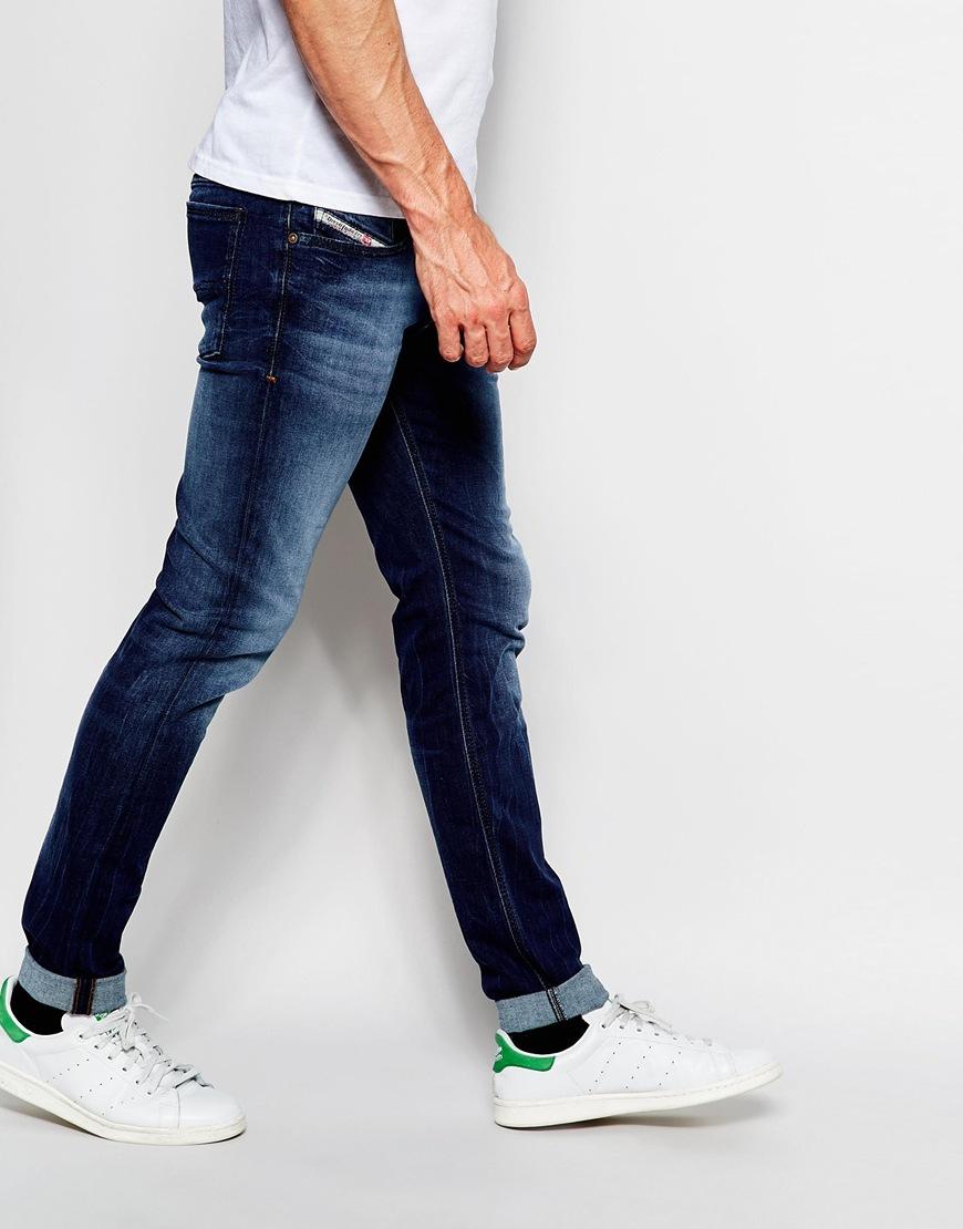 diesel jeans sleenker 845s skinny fit stretch dark wash dark wash in blue for men lyst. Black Bedroom Furniture Sets. Home Design Ideas