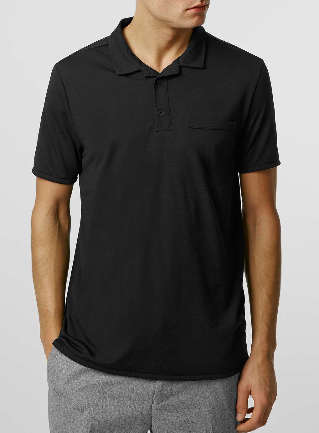 Topman Black Revere Polo Neck T Shirt In Black For Men Lyst