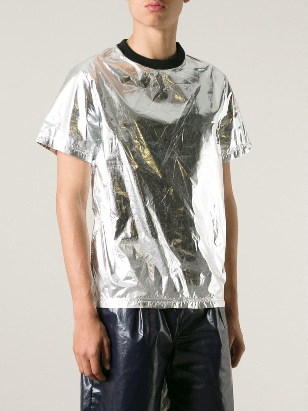 Lyst wanda nylon 39 felix 39 t shirt in metallic for men for Silver jeans t shirts