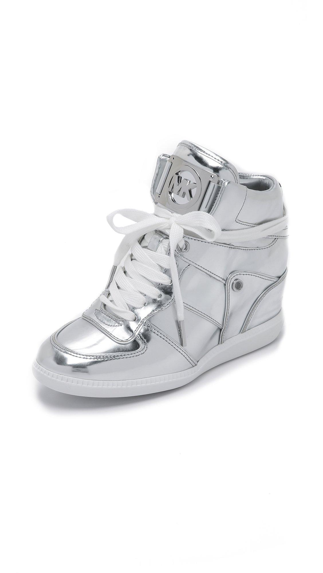 Michael Michael Kors Nikko High Top Sneakers In Metallic