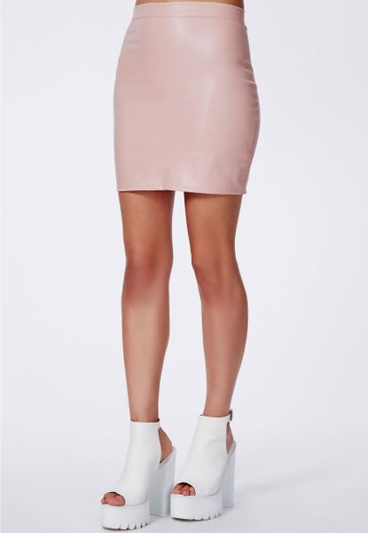 missguided rica dusky pink faux leather bodycon mini skirt