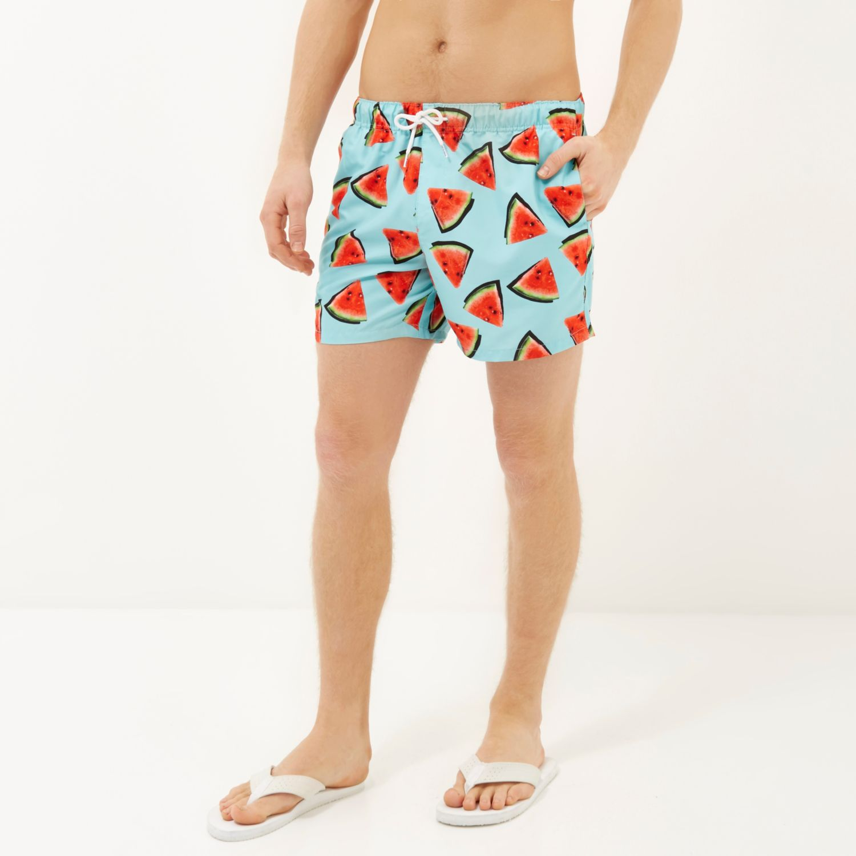 1e68be92a2c8e River Island Aqua Watermelon Print Swim Shorts in Blue for Men - Lyst
