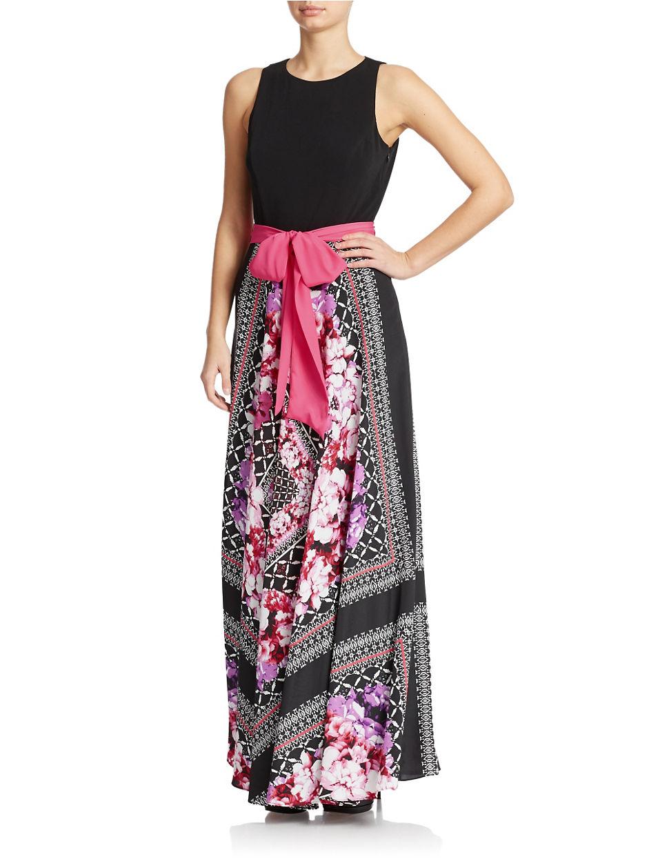 eliza j scarf printed skirt maxi dress lyst