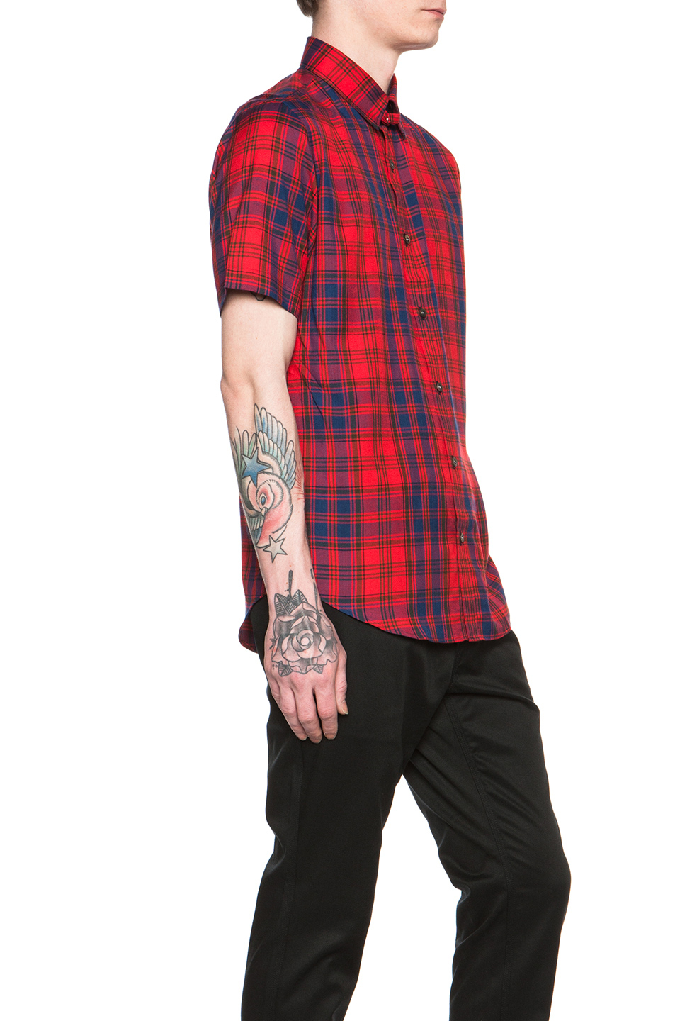 N hoolywood men 39 s short sleeve plaid shirt in red for men Short sleeve plaid shirts