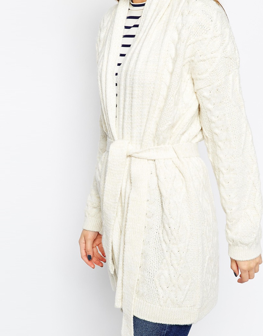 Asos Belted Cardigan In Cable Knit in Natural | Lyst