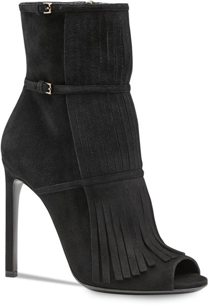 gucci suede fringefront ankle boots in black lyst