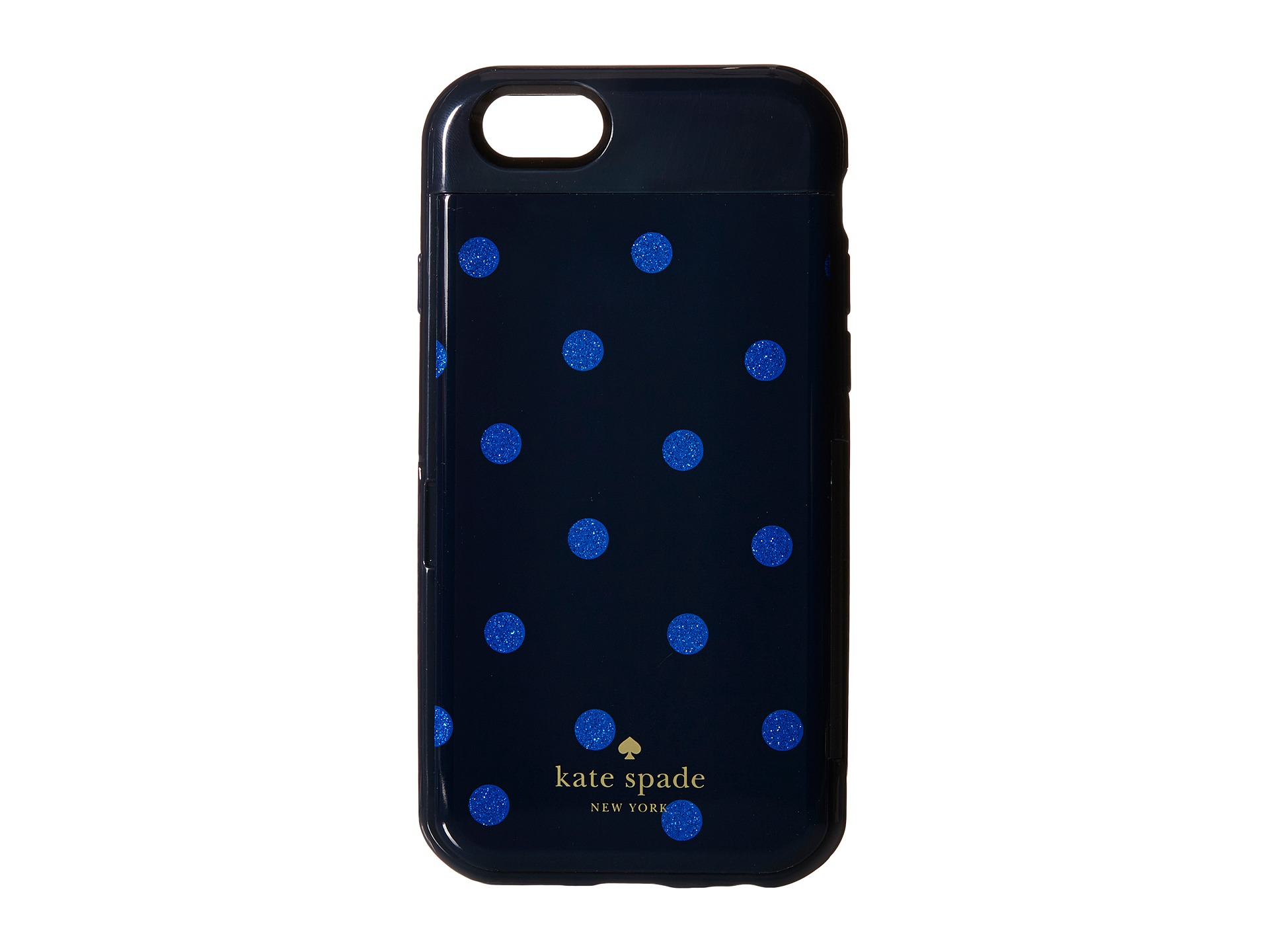 reputable site ccbd0 8092a kate spade new york Blue Glitter Dot Resin Stowaway Phone Case For Iphone 6