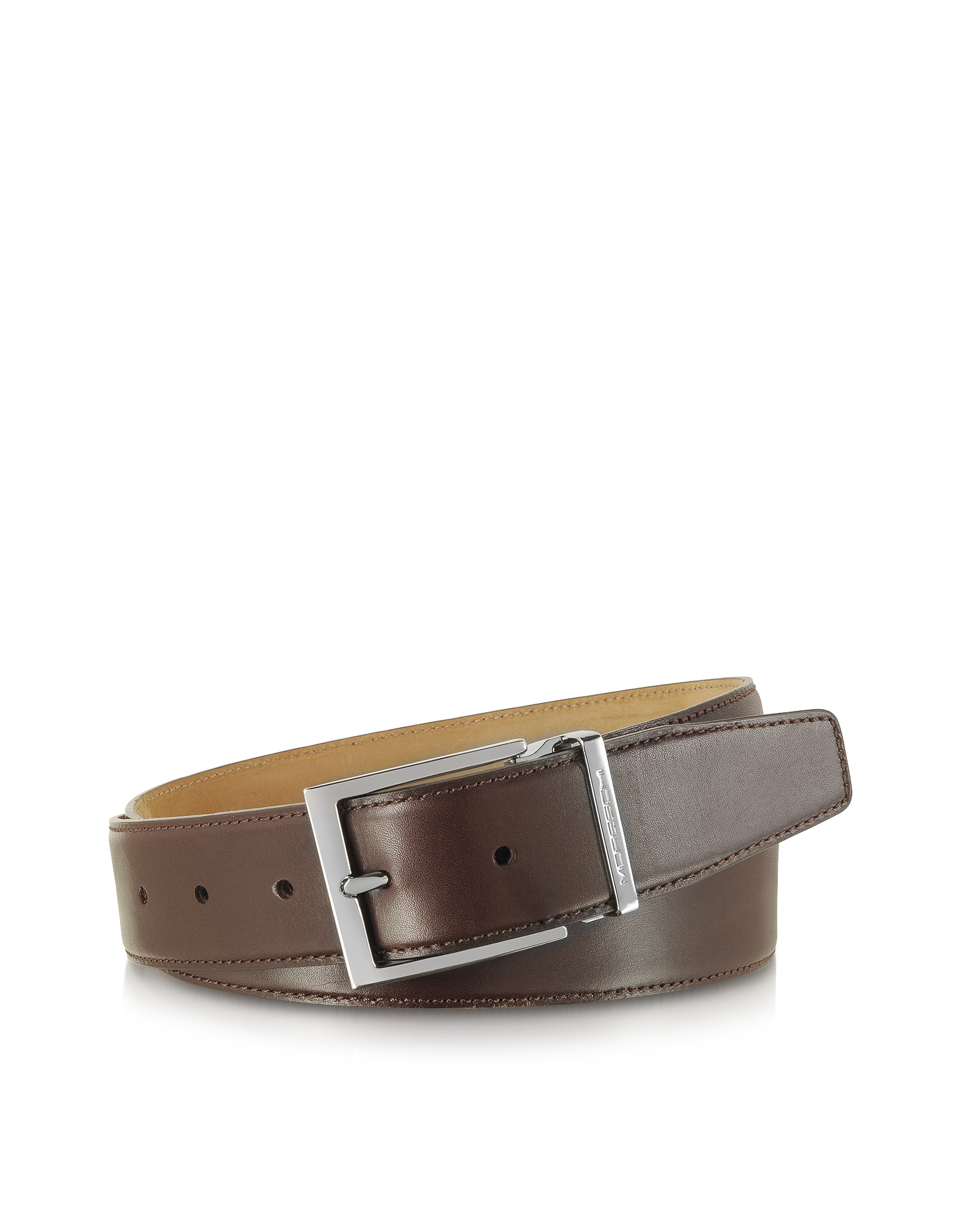 moreschi york brown calf leather belt in brown for