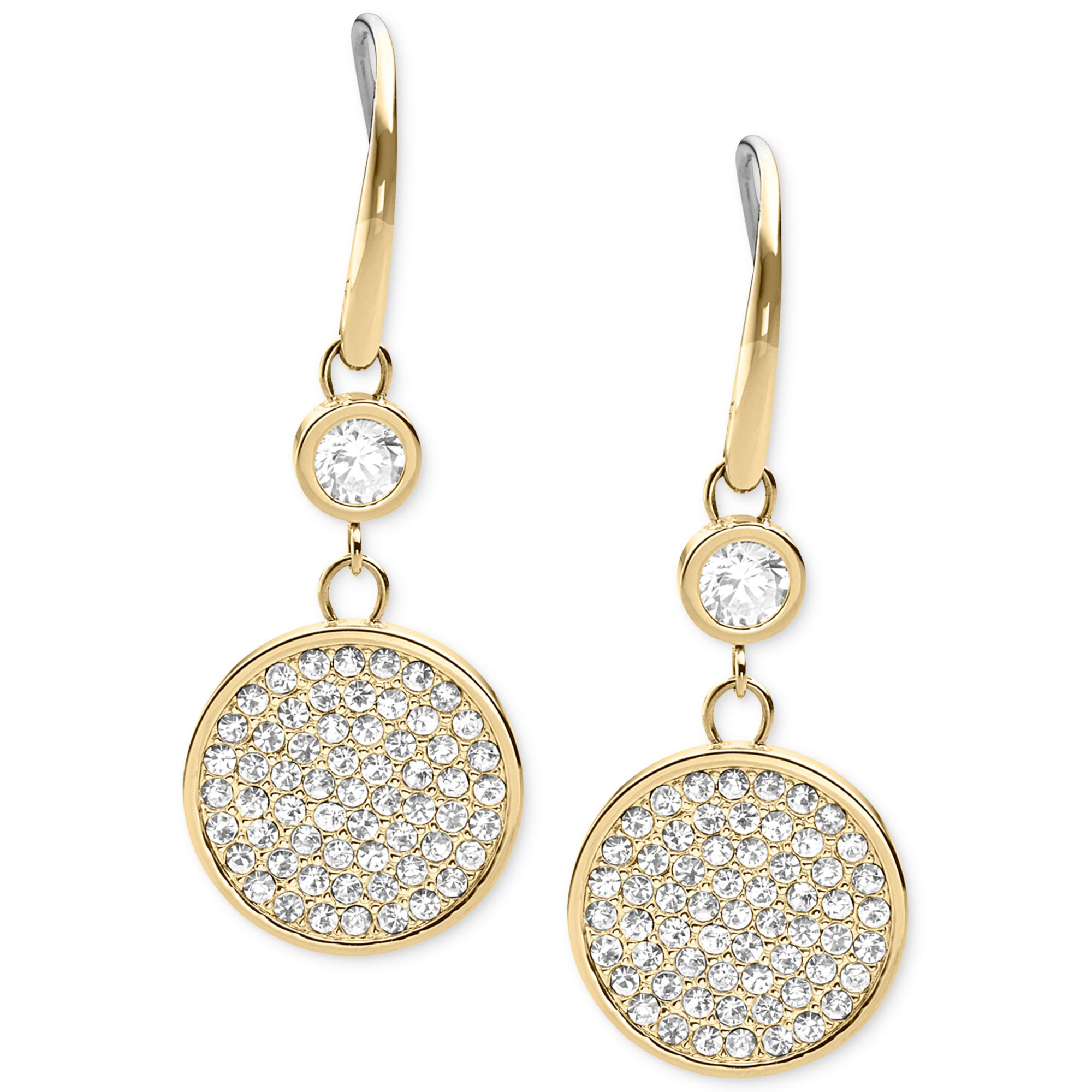 michael kors goldtone pave disc drop earrings in white