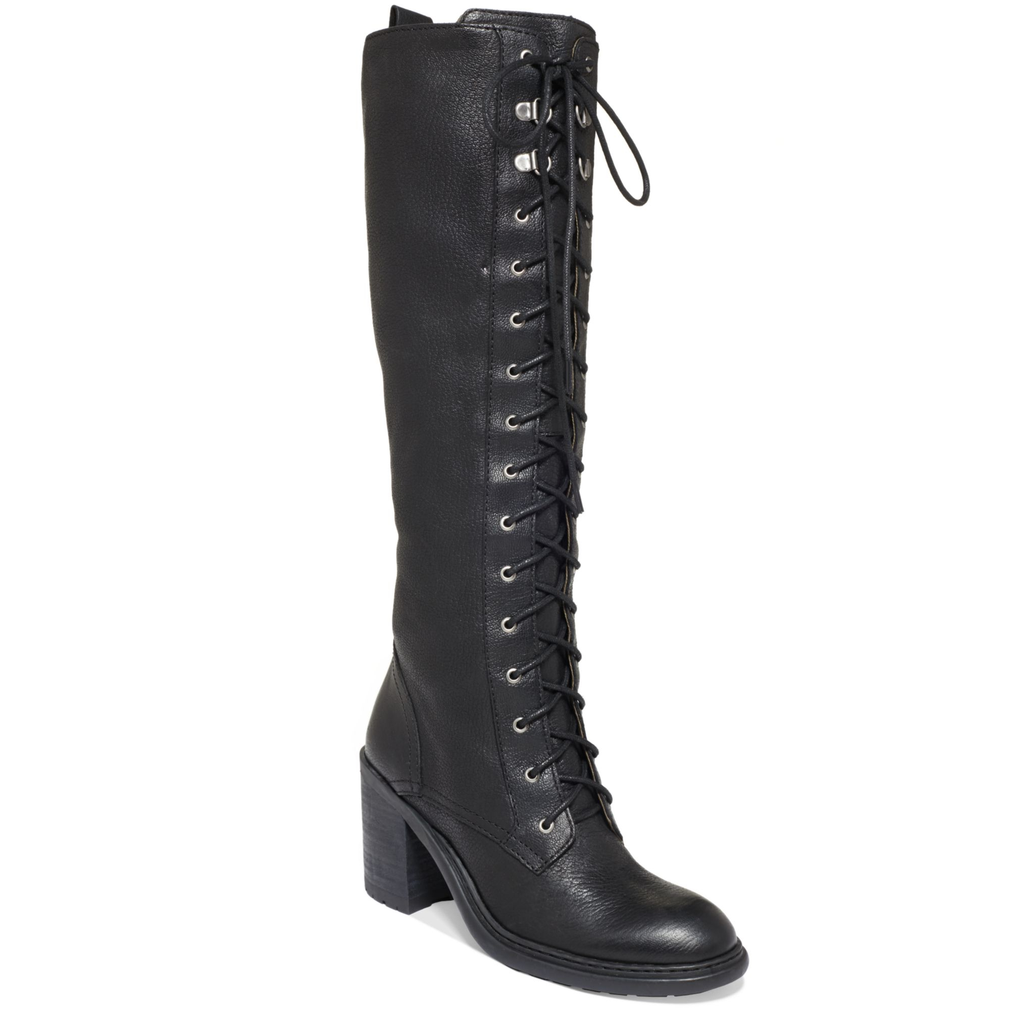 e5c84f2f62101 Nine West Lory Tall Laceup Combat Boots in Black - Lyst