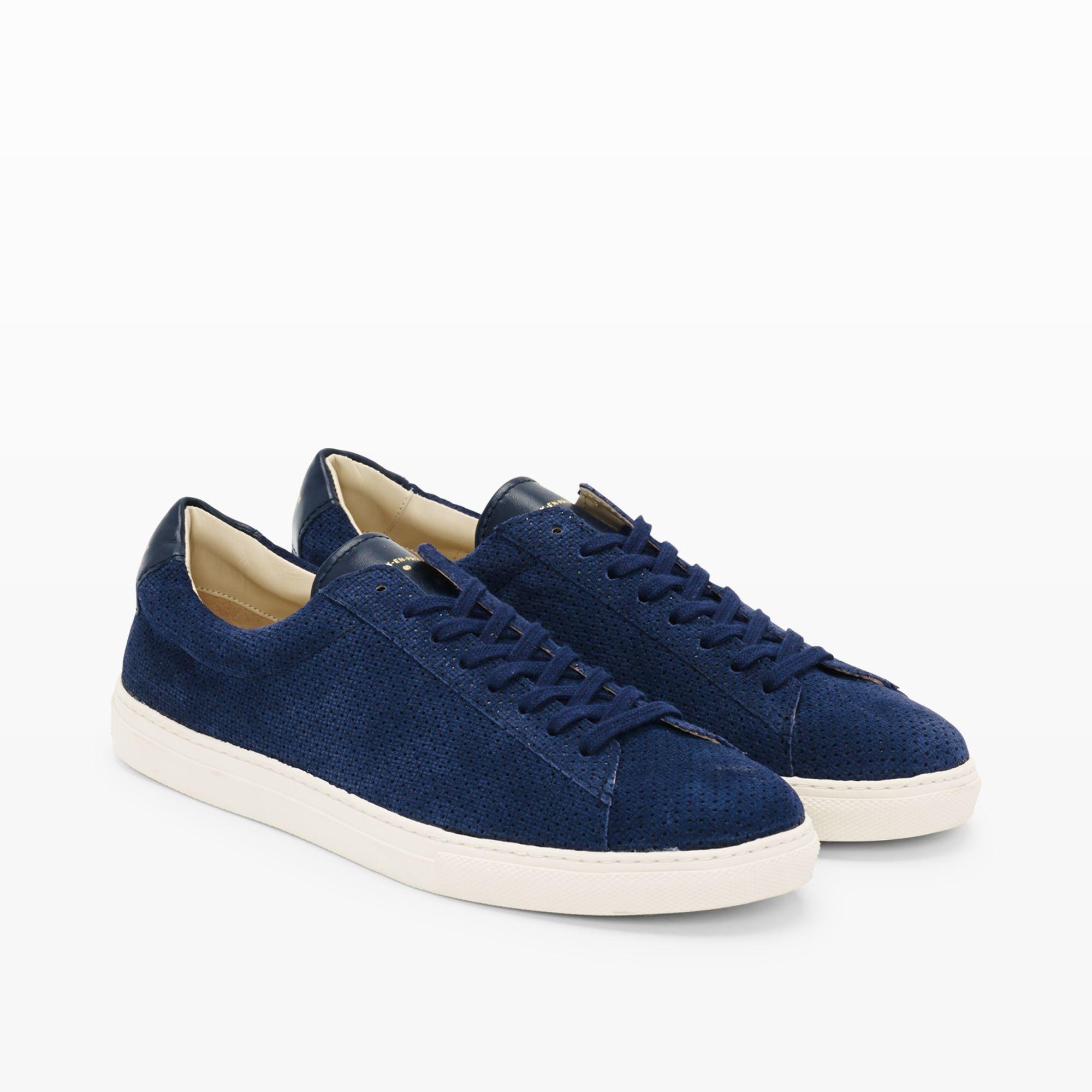 Lyst Club Monaco Zespa Perforated Suede Sneaker In Blue