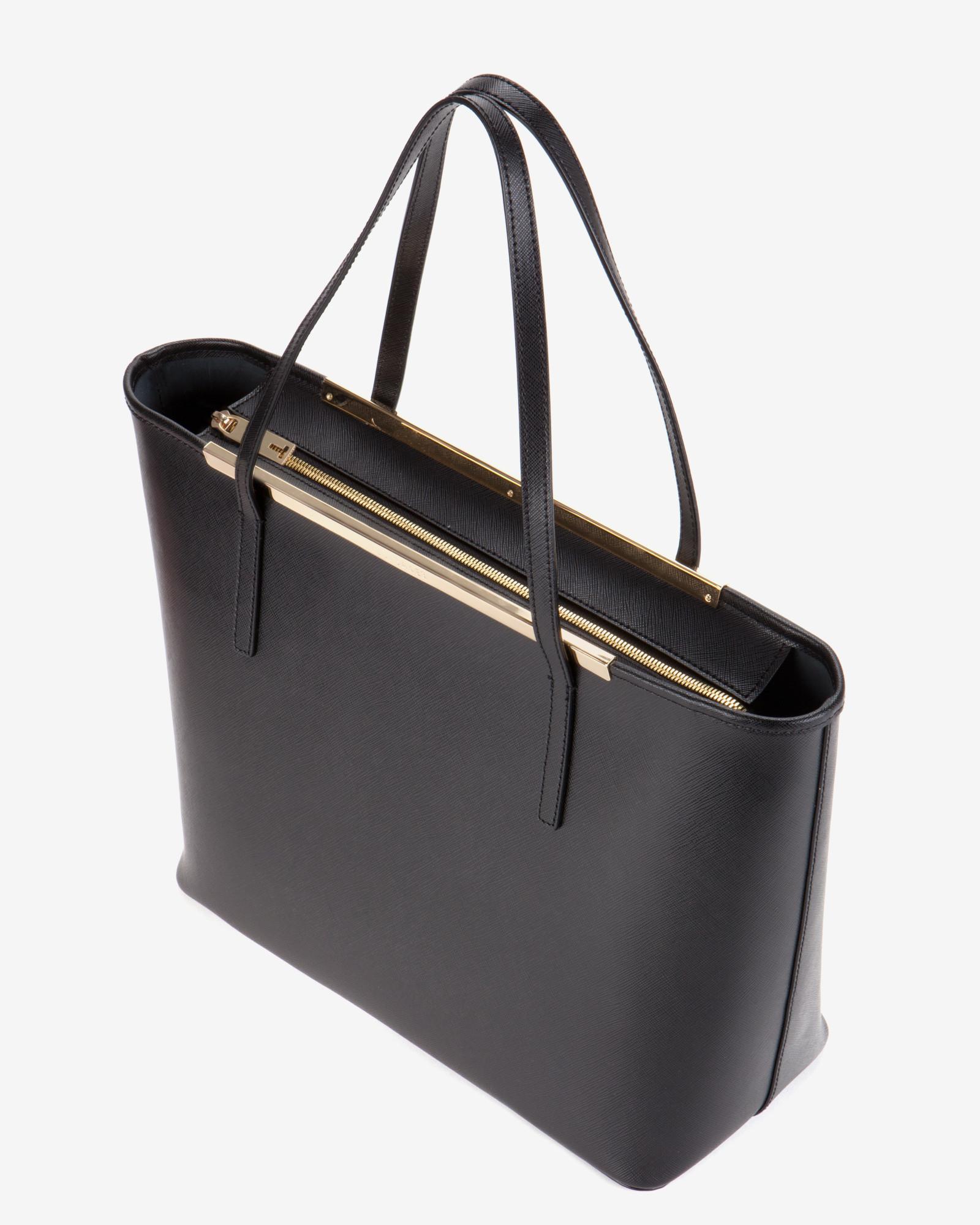 4bd41b12bb5 Ted Baker Black Large Crosshatch Leather Shopper Bag