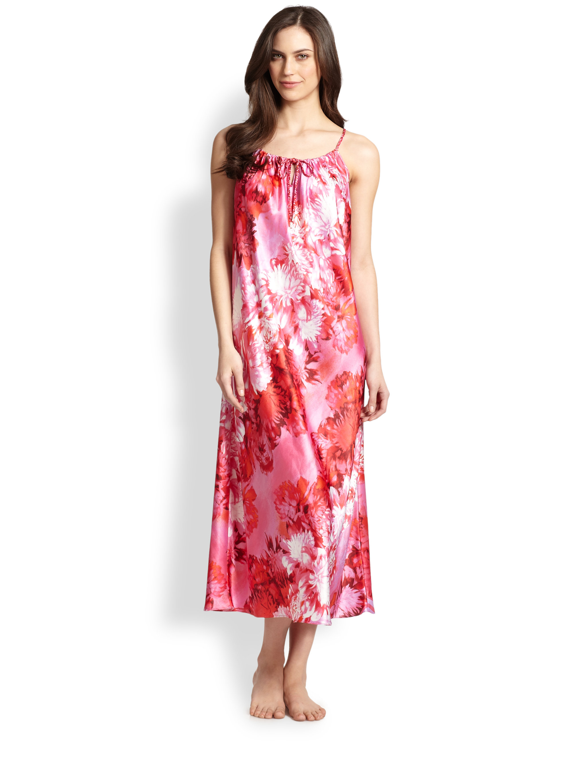 Lyst - Oscar De La Renta Floral-Print Polyester Satin Nightgown in Red