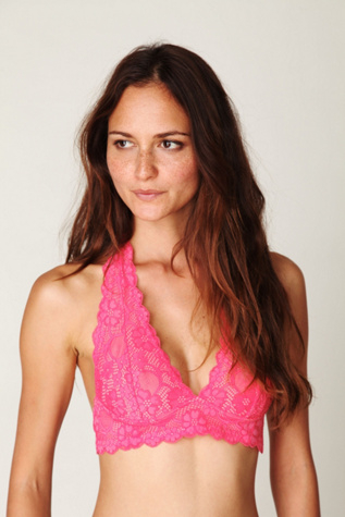 560c71896b5 Lyst - Free People Galloon Lace Halter Bra in Pink