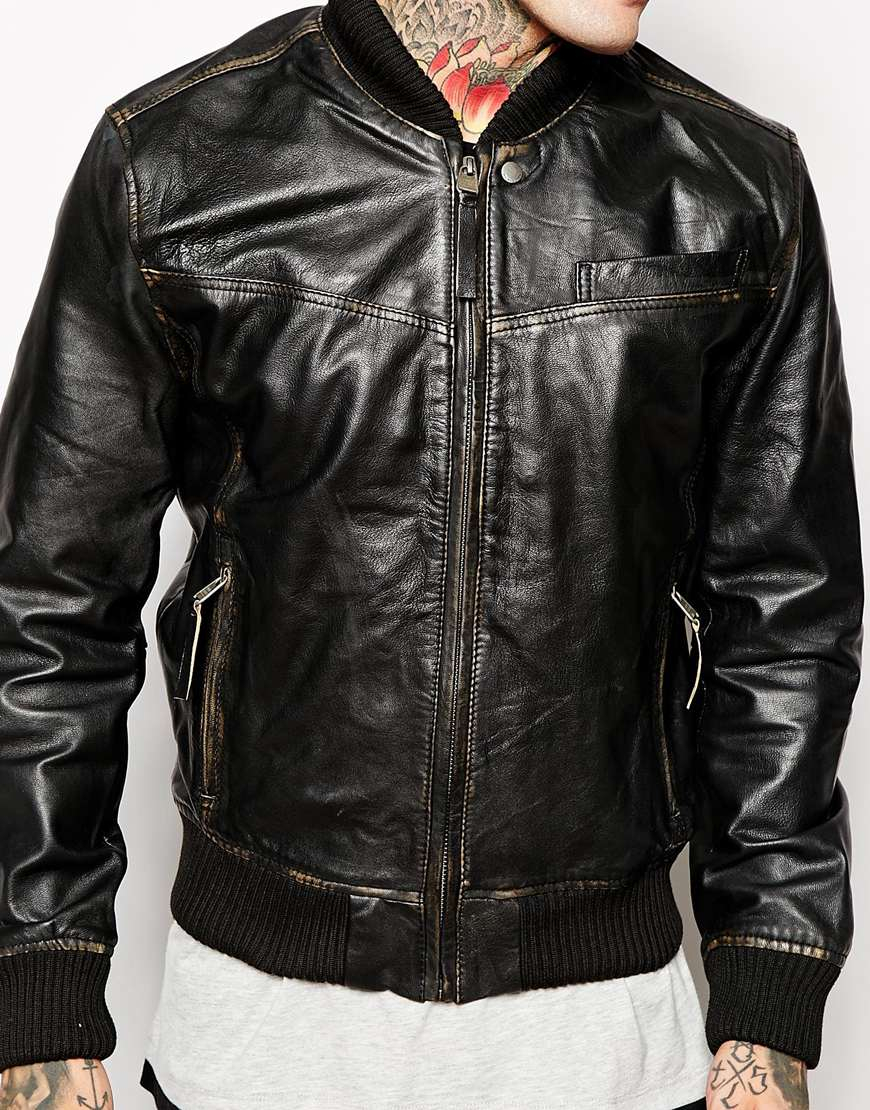 Pepe jeans Leather Jacket in Black for Men | Lyst