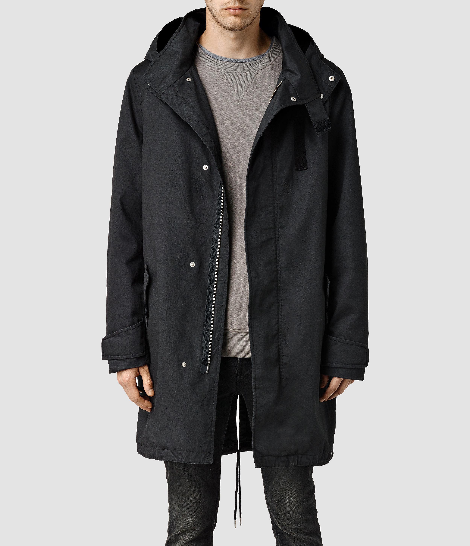 Allsaints Retreat Parka Coat in Black for Men | Lyst