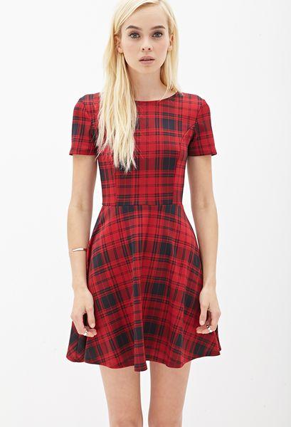 Forever 21 Plaid Scuba Knit Skater Dress In Red Red Black