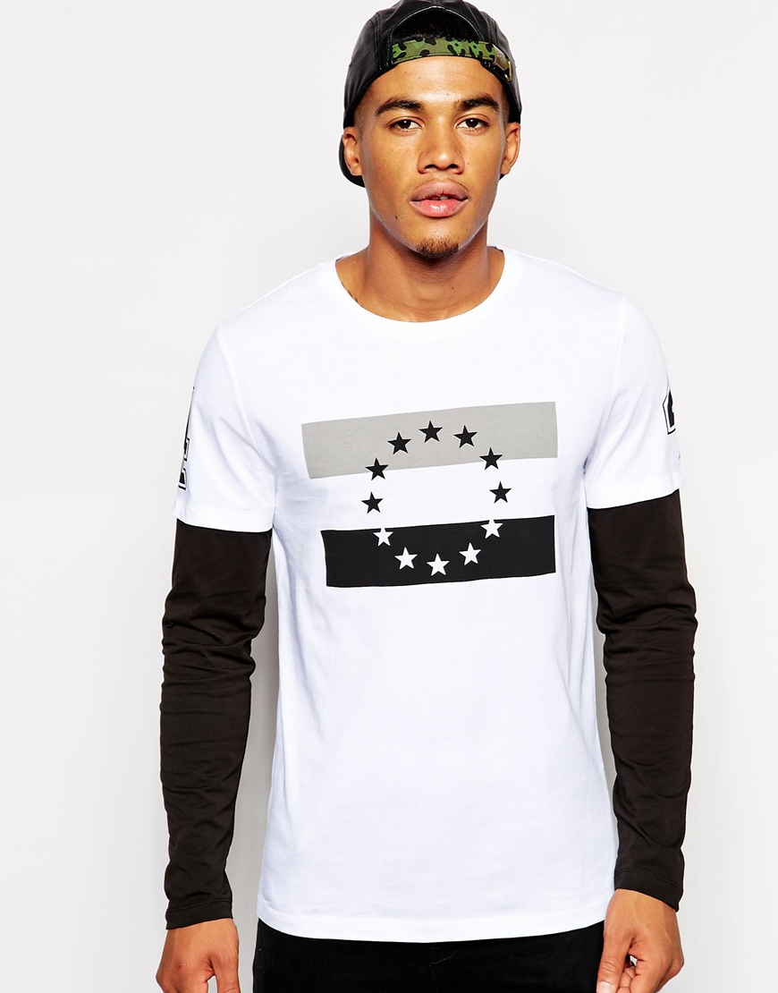 Lyst asos long sleeve t shirt with double layer and star for Long sleeve printed t shirts