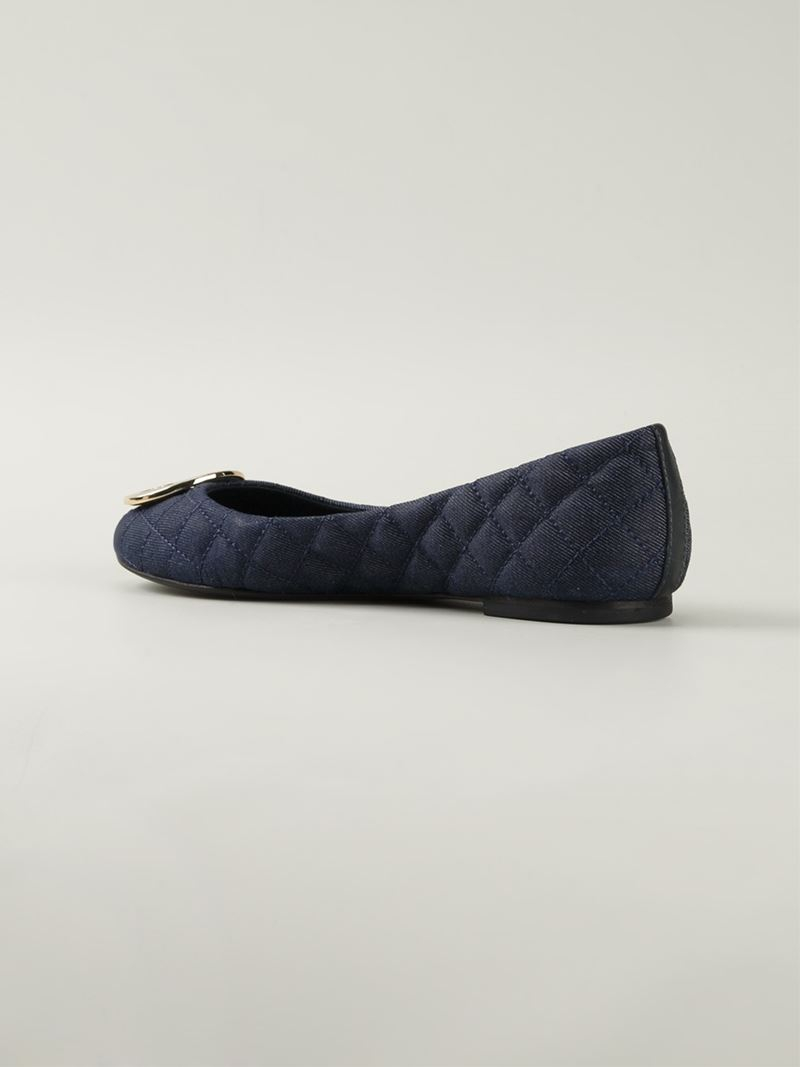 tory burch 39 quinn 39 quilted ballerinas in blue lyst. Black Bedroom Furniture Sets. Home Design Ideas