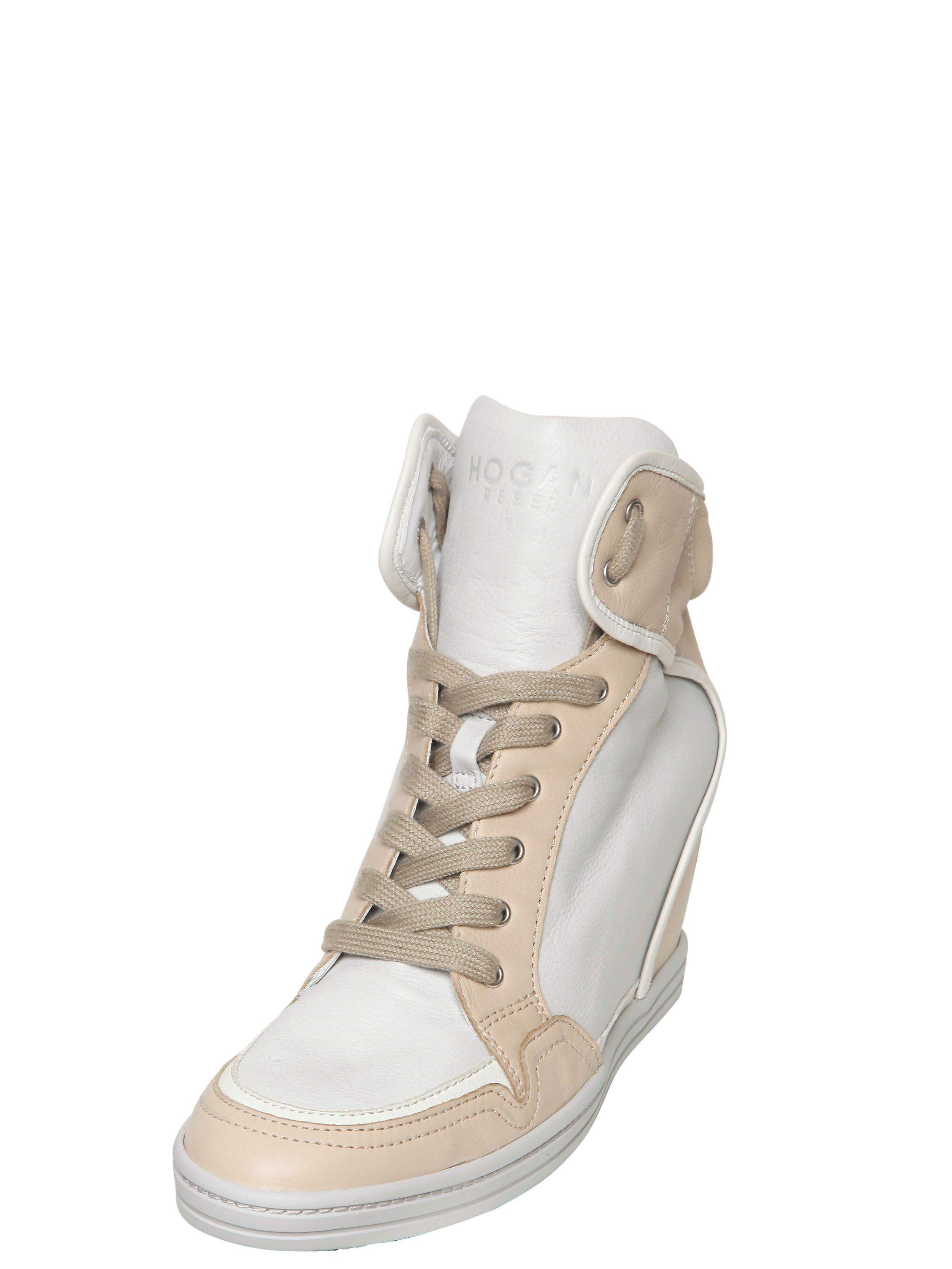 lyst hogan rebel 90mm two tone calfskin wedge sneakers in natural. Black Bedroom Furniture Sets. Home Design Ideas